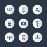 contabilidade, finanças, conjunto de ícones redondos de dinheiro vetor