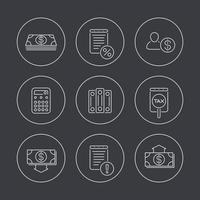 contabilidade, finanças, ícones de linha em círculos vetor