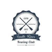 logotipo vintage do clube de remo grunge, emblema vetor