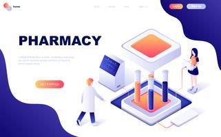 Conceito isométrico moderno design plano de farmacêutico em farmácia