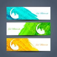 Conjunto de bandeiras islâmicas abstratas vetor