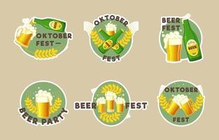 conjunto de adesivos do festival da cerveja de outubro vetor