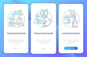 períodos de vida adulta na tela da página do aplicativo móvel vetor