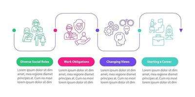 modelo de infográfico de vetor de papéis sociais diversos