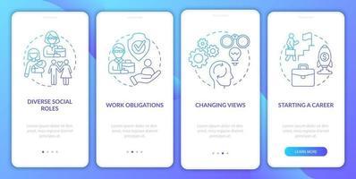 tela da página do aplicativo móvel de integração de atividades sociais vetor