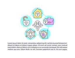 ícones de linha de conceito de tipos de rede com texto vetor