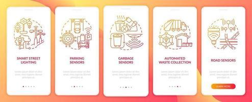 tela da página do aplicativo móvel vermelho gradiente de infraestrutura da cidade inteligente vetor