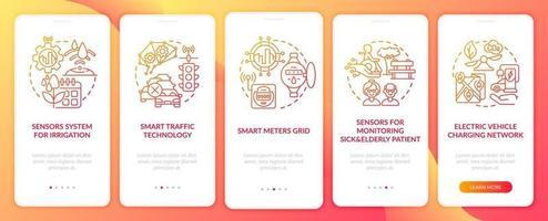 tela de página de aplicativo móvel de integração de projetos de cidade inteligente gradiente vermelho vetor