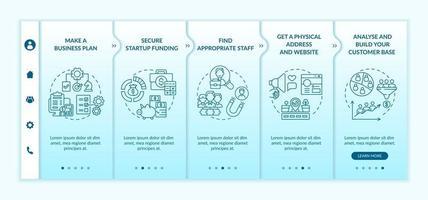 modelo de vetor de integração de etapas de lançamento de inicialização