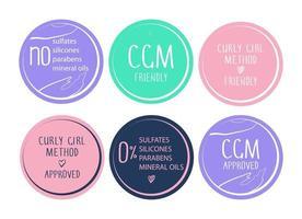 conjunto de símbolos de produto aprovado de método de menina encaracolada vetor