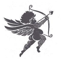 Silhueta de Cupido com tatuagens vetor