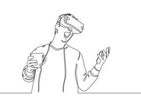 jovem com dispositivo de tecnologia de realidade virtual desenho de uma linha vetor