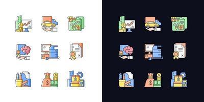 suprimentos de escritório e equipamentos técnicos conjunto de ícones de cores claras e escuras vetor