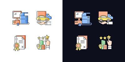 conjunto de ícones de cores rgb tema claro e escuro imagem da empresa vetor