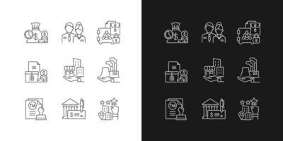 ícones lineares de desenvolvimento de negócios definidos para modo escuro e claro vetor