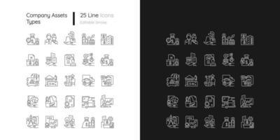 ícones lineares de ativos de negócios definidos para modo claro e escuro vetor