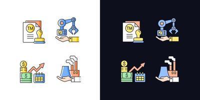 conjunto de ícones de cores claras e escuras para investimentos em negócios de longo prazo vetor