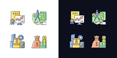 conjunto de ícones de cores rgb de tema claro e escuro de gerenciamento de ativos vetor