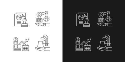 conjunto de ícones lineares de investimentos de negócios de longo prazo vetor
