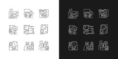conjunto de ícones lineares de material de escritório e equipamento técnico vetor