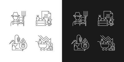 ícones lineares de agricultura ambiental definidos para o modo escuro e claro vetor