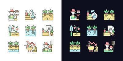 agricultura conjunto de ícones de cores rgb de tema claro e escuro vetor