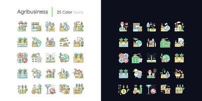conjunto de ícones de cores rgb de tema claro e escuro relacionado à agricultura vetor