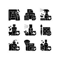 produtos reutilizáveis ícones de glifo preto definidos no espaço em branco vetor