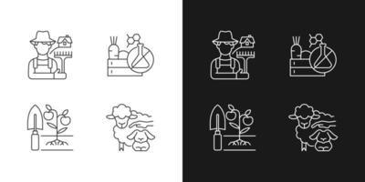 agricultura e ícones lineares de agricultura definidos para o modo claro e escuro vetor