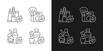 ícones lineares de opções reutilizáveis definidos para o modo claro e escuro vetor