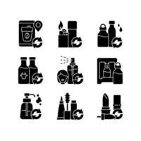 produtos recarregáveis ícones de glifo preto definidos no espaço em branco vetor
