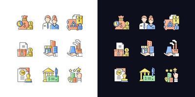 desenvolvimento de negócios conjunto de ícones de cores rgb de tema claro e escuro vetor