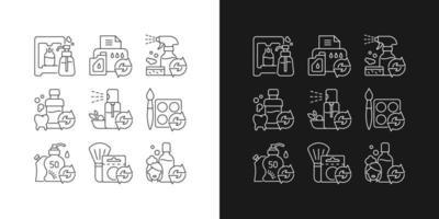 ícones lineares de produtos reutilizáveis definidos para modo claro e escuro vetor