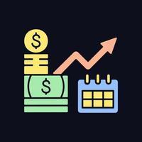 ícone de cor rgb de investimento de longo prazo para tema escuro vetor