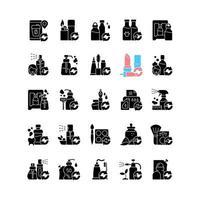 opções de recarga ícones de glifo preto definidos no espaço em branco vetor