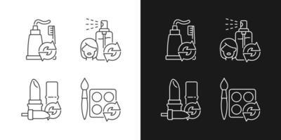 reabasteça e reutilize ícones lineares definidos para o modo claro e escuro vetor
