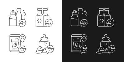 ícones lineares de opções recarregáveis definidos para o modo claro e escuro vetor