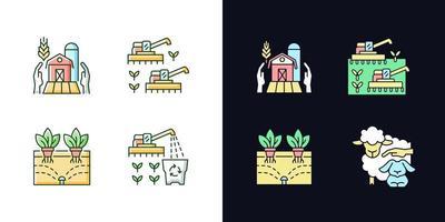 agricultura e agricultura conjunto de ícones de cores rgb de tema claro e escuro vetor