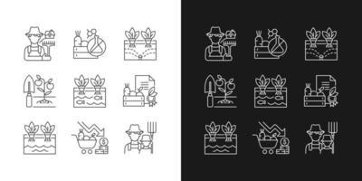 agricultura ícones lineares definidos para o modo escuro e claro vetor