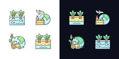 conjunto de ícones de cores rgb tema de agricultura ambiental claro e escuro vetor