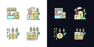 inovações agrícolas conjunto de ícones de cores rgb de tema claro e escuro vetor