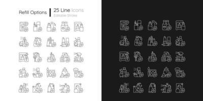 Ícones lineares de opções de recarga definidos para o modo claro e escuro vetor