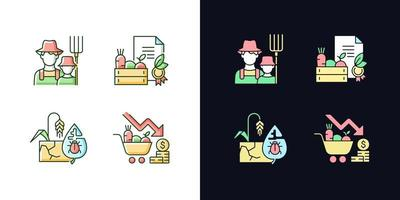 Conjunto de ícones de cores rgb de tema claro e escuro do agronegócio vetor