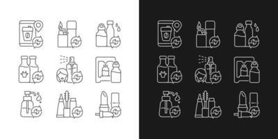 ícones lineares de produtos recarregáveis definidos para o modo claro e escuro vetor