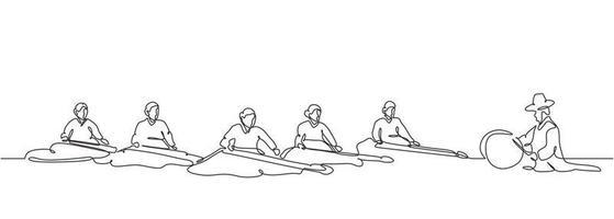 um desenho de linha contínua de pessoas jogando gayageum ou kayagum vetor