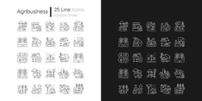 ícones lineares relacionados à agricultura definidos para o modo claro e escuro vetor
