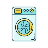 lavanderia, ícone de cor rgb azul e amarelo da máquina de lavar vetor