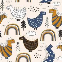 desenho de estilo escandinavo padrão sem emenda de bebê Dino. vetor