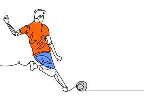homem chutar uma bola no design de esporte de jogo de futebol de futebol. vetor