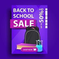 promoção de volta às aulas, banner de desconto vertical vetor